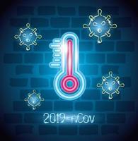 neonljus symbol covid 19 coronavirus, med termometer, farligt pandemi coronavirus utbrott neonljus glödande