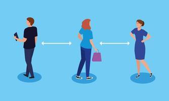 soziale Distanzierung, Abstand in der öffentlichen Gesellschaft zu Menschen, die vor Covid 19 schützen, junge Menschen, die Aktivitäten ausführen vektor