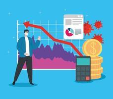globale finanzielle Erholung des Marktes nach Covid 19, Mann mit Geschäftsgrafik und Finanzikonen vektor