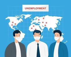 Coronavirus, Arbeitslosigkeit, Arbeitslose ab Covid 19, Firma geschlossen und Geschäft geschlossen, Geschäftsleute mit Weltkarte vektor