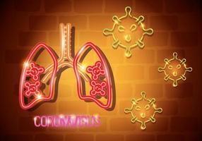 Neonlichtsymbol covid 19 Coronavirus, mit Lungen, gefährlicher Pandemie-Coronavirus-Ausbruch Neonlicht glüht vektor