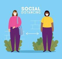 soziale Distanzierung, Abstand in der öffentlichen Gesellschaft zu Menschen, die vor Covid 19 schützen, Frauen, die eine Gesichtsmaske verwenden vektor