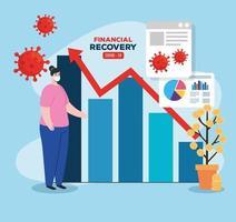 globale finanzielle Erholung des Marktes nach Covid 19, Frau mit Geschäftsgrafik und Ikonen vektor