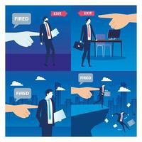 Geschäftsleute traurig entlassen, Entlassung, Arbeitslosigkeit, Arbeitslosigkeit und Mitarbeiter Jobreduzierung Konzept, setzen Szenen vektor