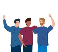 glückliche Männer zusammen, Gruppe männlicher Freunde vektor