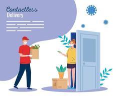 säker kontaktlös leveranskurir hem till covid 19 vektor