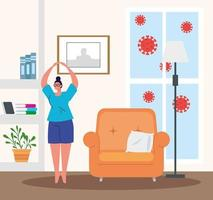 Bleib zu Hause, Frau übt Bewegung, Quarantäne oder Selbstisolation vektor