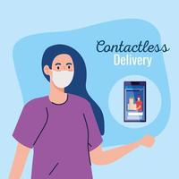 säker kontaktlös leveranskurir av covid 19, stanna hemma, beställ varor online via smartphone vektor