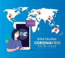 Online-Bildungsratschläge gegen die Verbreitung von Coronavirus Covid-19, Online-Lernen, Studentin mit Smartphone vektor