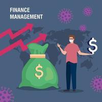 Finanzmanagement Erholung des Marktes nach Covid 19, Mann mit Geldsack vektor