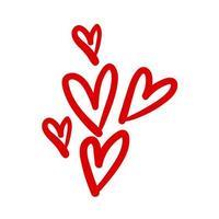 Gruppe von Herzen im losen handgezeichneten Stil vektor