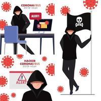 Set-Szenen, Hacker mit Geräteelektronik während der Covid 19-Pandemie vektor