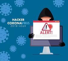 Hacker und Laptop mit Warnschild während der Covid 19-Pandemie vektor