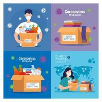 Bühnenbilder, Menschen mit Spendenboxen, Sozialfürsorge, Freiwilligenarbeit und Wohltätigkeitskonzept vektor