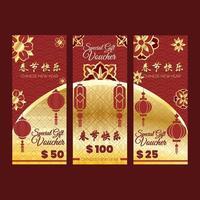 gåva för kinesiskt nyårskupong vektor