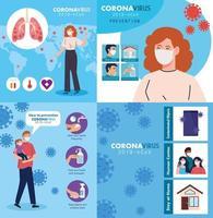Set Szenen, Prävention, Menschen mit medizinischer Schutzmaske gegen Coronavirus 2019 ncov vektor