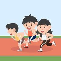 människor som springer på en racerbana vektor