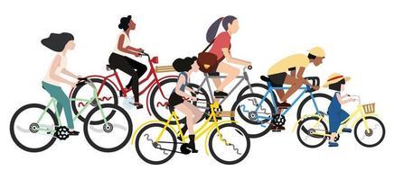 Satz von Leuten, die Fahrräder lokalisiert auf einem weißen Hintergrund reiten vektor