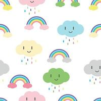 regnbågar och moln med söta ansikten sömlösa mönster vektor