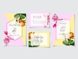 vacker blommig bröllopinbjudan kortmall vektor