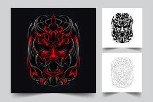 skräck ansikte konstverk illustration vektor