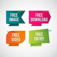 kostenloser Download, kostenloses Bild, kostenloser Eintritt, kostenlose Video-Text-Label-Vektor-Vorlage Design-Illustration vektor