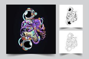 astronaut bläckfisk konstverk illustration vektor