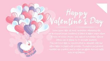 Herzform Luftballons und Happy Valentinstag Schriftzug. Design für Valentinstag Postkarte