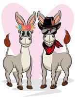 niedliches Paar Tier Cartoon Esel für Valentinstag Karte. vektor