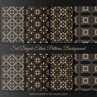 Set Dayak ethnischen Muster Hintergrund. indonesisches Batikmuster.