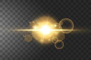 leuchtende goldene Sterne lokalisiert auf schwarzem Hintergrund. Vektorillustration.