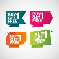 Kaufen Sie 1 erhalten Sie kostenlos Etikett Abzeichen Vektor Vorlage Design Illustration