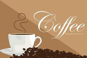 heiße Tasse Kaffee und Kaffeebohnen Vektor-Illustration
