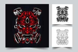 Teufel Gesicht Kunstwerk Illustration vektor