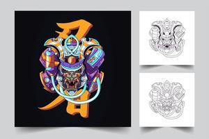 Mecha Japan Ronin Kunstwerk Illustration vektor