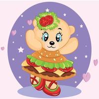 söt panda klä upp hamburgare. vektor illustration.