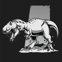 svart vit arg t rex dinosaurie vektor