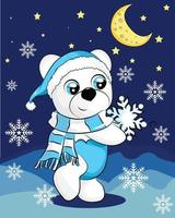 Eisbär mit blauem Schal in der Nacht. Vektor niedliche Zeichentrickfigur. weißer Bär auf blauem Hintergrund mit Schneeflocken. Weihnachtskonzept. perfekt für Weihnachtsgrußkarte