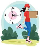 Lieferung Kurier Holding Box auf dem Hintergrund der Uhr. Lieferkurier mit Rollschuhen. Lieferkurier mit Box in Händen. flache Designillustration des Vektors. vektor