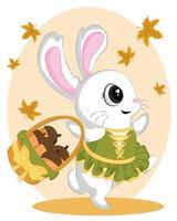 tanzender Hase im Herbst bringt Körbe mit Walnüssen. kleiner Hase mit Herbstlaub vektor