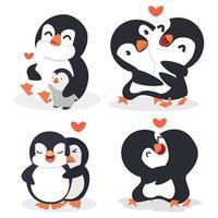 tecknad pingvin par kram med hjärta vektor