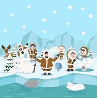 Inuit Familie Winter Nordpol Arktis Konzept vektor