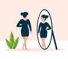 Frau, die vor dem Spiegel steht und ihr Spiegelbild betrachtet vektor