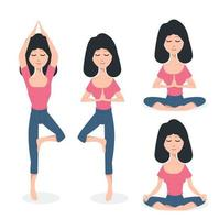 Frau macht Yoga Pose Set
