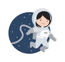 kleines Mädchen Astronaut fliegt im Weltraum vektor