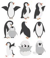Happy Penguin und Chicks Charaktere in verschiedenen Posen gesetzt vektor