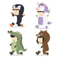 uppsättning tecknad unge karaktärer i djur kostymer vektor