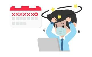 affärsman förvirrad med en deadline vektor