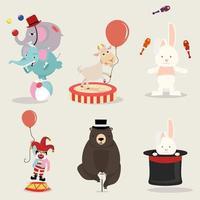 schöne Sammlung von Zirkusfiguren vektor
