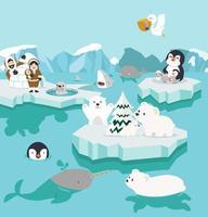 Satz niedliche Karikatur-Nordpollandschaft vektor